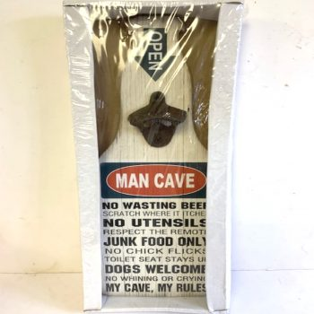 Bottle Shaped Man Cave Rules Beer Sign with Bottle Opener