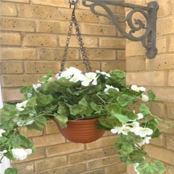 Artificial Cream Geranium Hanging Basket