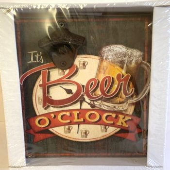 Vintage Bottle Opener Square Wall Plaque - It's Beer O'Clock