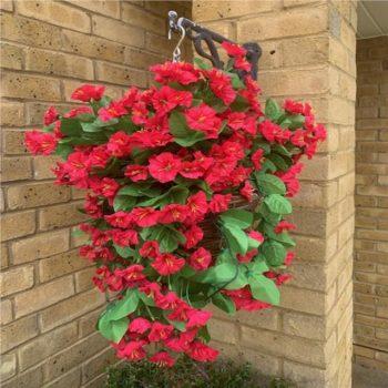 Artificial Fuchsia Pink Morning Glory Hanging Basket