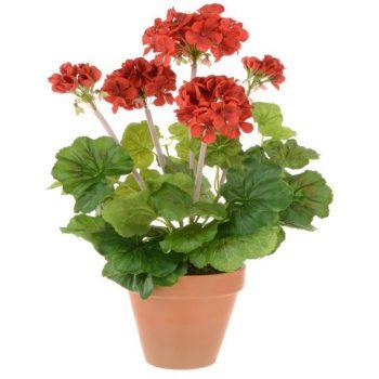 Artificial Red Geranium Plant in Terracotta Pot