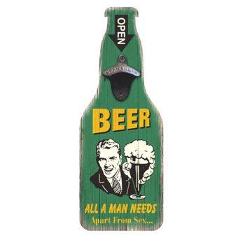 Funny Vintage Beer Sign With Bottle Opener - Green