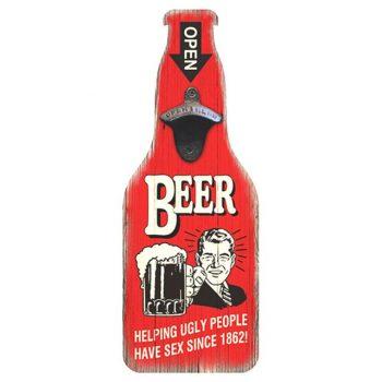 Funny Vintage Beer Sign With Bottle Opener - Red