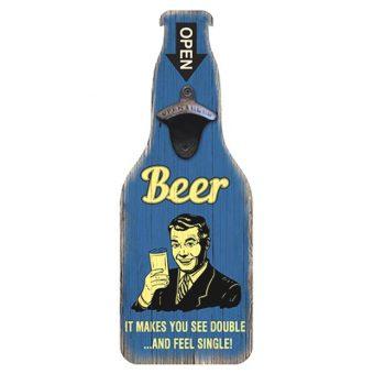 Funny Vintage Beer Sign With Bottle Opener - Blue