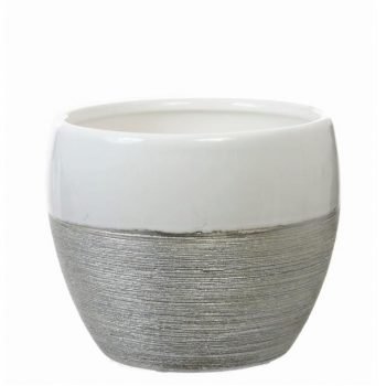 Classic Ceramic Pot Vase White and Silver Glitter