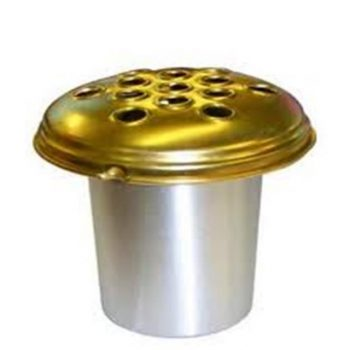 Aluminium Grave Vase Silver with Gold Lid