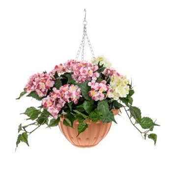 Artificial Hydrangea Hanging Basket - Pink and Cream