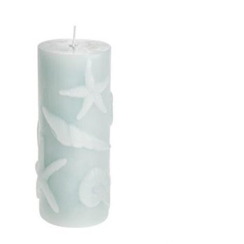 Embossed Starfish Shell Nautical Candle Light Blue.