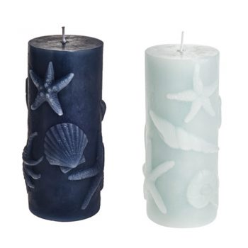 Embossed Starfish Shell Nautical Candles Set of 2