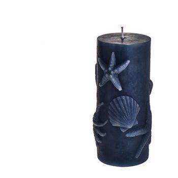 Embossed Starfish Shell Nautical Candle Dark Blue.
