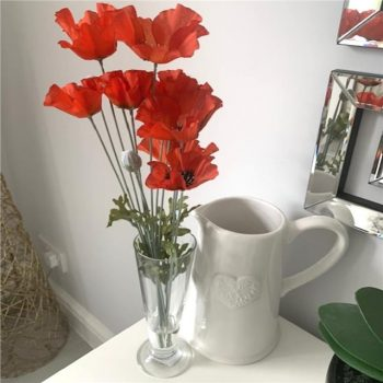 Artificial Flame Orange Poppies in Footed Glass Vase