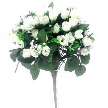 Artificial Silk Cream Ivory Rose Bush - 60 Heads with Gyp