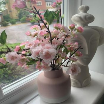 Pink Artificial Blossom Plant in Pink and White Vase