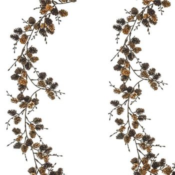 Autumn Harvest Rustic Pine Cone Twig Garland 183cm - Brown