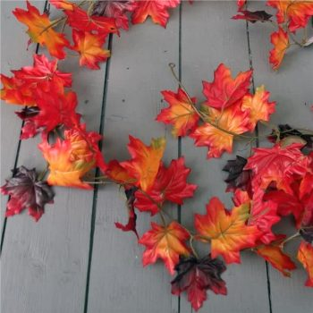 Red Artificial Maple Leaf Garland