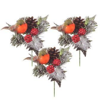 Set of 3 Robin Christmas Picks
