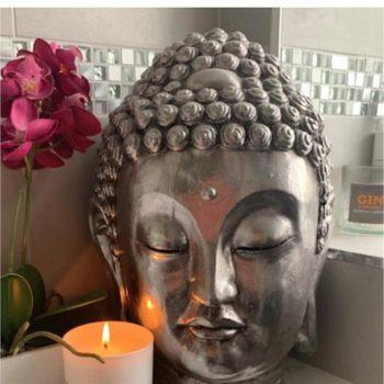 Silver Buddha Head Ceramic Ornament