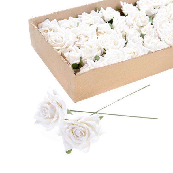 12 Wired Cream Velvet Roses