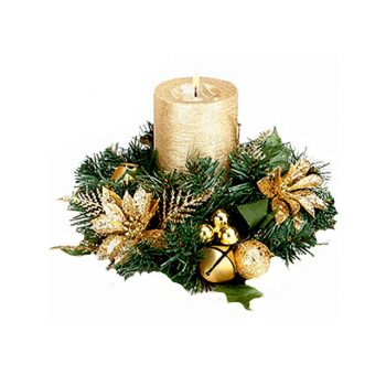 Gold Festive Christmas Glitter Poinsettia Candle Ring