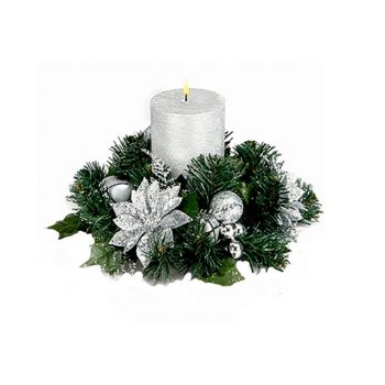 Silver Glitter Poinsettia Candle Ring