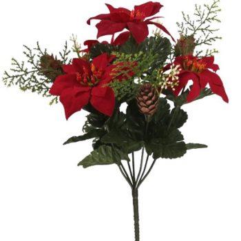 Artificial Poinsettia Bush with Pine Cones