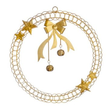 Round Christmas Card Holder with Ribbon and Bells
