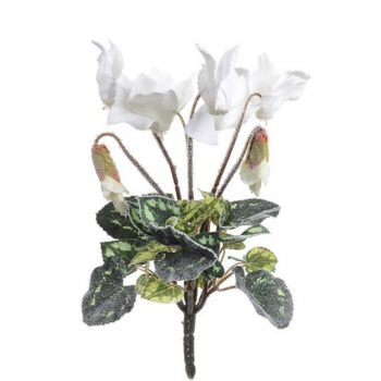Artificial Frosted Cyclamen Bush with White Flowers