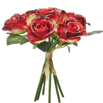 Silk Frosted Handtied Rosebud Bunch - Red