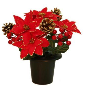 Artificial Red Gold Poinsettia Cone & Berry Christmas Grave Pot Flower Arrangement