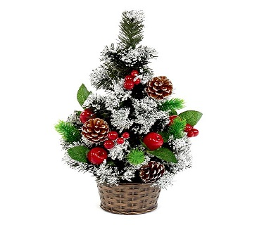 Mini Christmas Tree with Snow and Berries