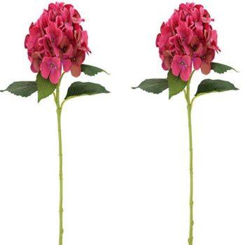 Pair of Beauty Pink Silk Hydrangea Flowers