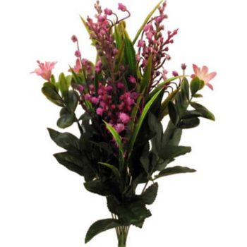 Artificial Mixed Flower Bush with Pink Snowdrops