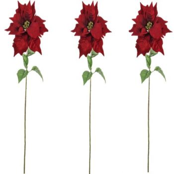 Set of 3 Artificial Poinsettia Stems
