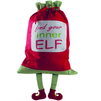 Festive Large Christmas Elf Sack with Legs