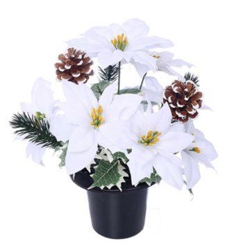 Artificial White Poinsettia Memorial Vase Pot
