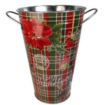 Metal Tartan Bucket Vase