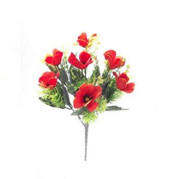 Red Artificial Poppy Spring Bush