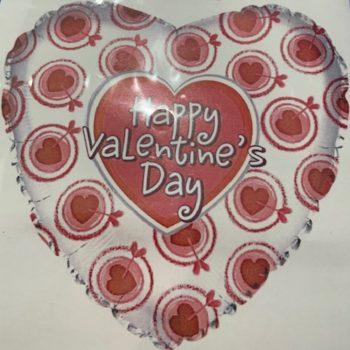 Happy Valentine's Day Heart Foil Helium Balloon - 45cm