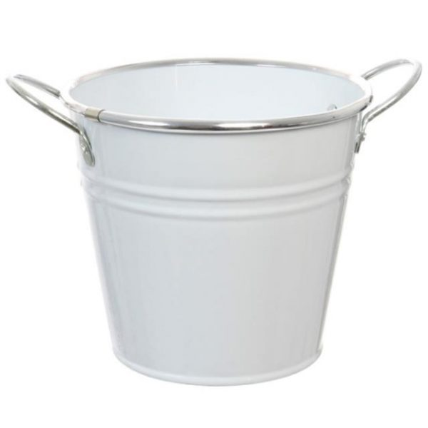 White Metal Flower Bucket With Chrome Lip and Handles