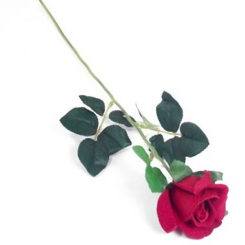 Artificial Single Velvet Red Rose