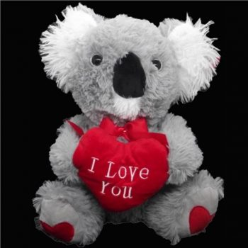 Grey Cuddly Bear with Red Heart and Premium Red Silk Rose