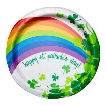 Happy St Patricks Day Rainbow Shamrock Plates