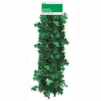 9ft Green St Patricks Day Shamrock Tinsel Garland