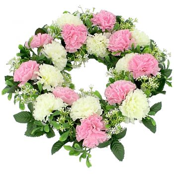 Artificial Pink and Ivory Carnation Wreath