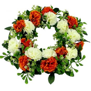 Artificial Orange and Ivory Carnation Wreath
