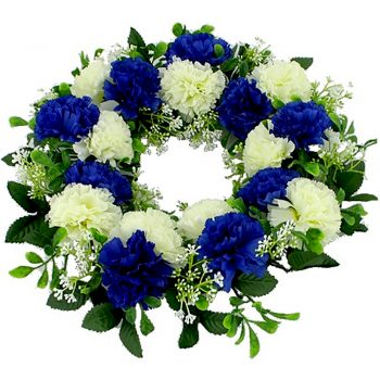 Artificial Royal Blue and Ivory Carnation Wreath
