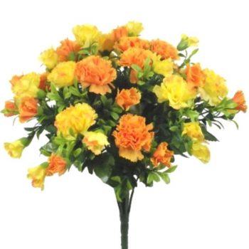 35cm Artificial Orange & Yellow Carnation Bush