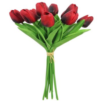 Artificial Flower Red Tulips Bunch