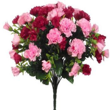 Artificial Light & Hot Pink Carnation Flower Bush