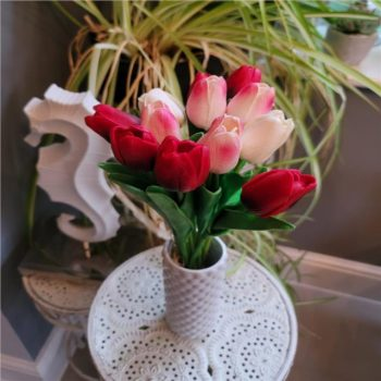Artificial Mixed Tulips Bunch in Red, Pink and Cream